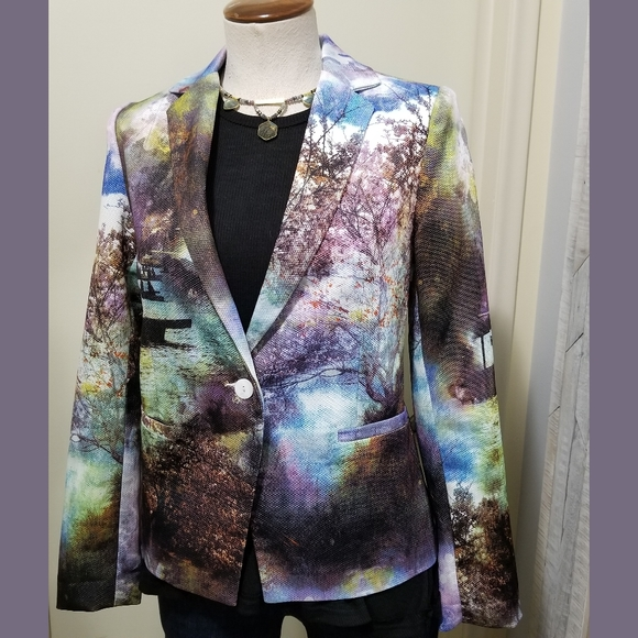 Inbdue Multicolor Photo Printed Cotton Blazer 4